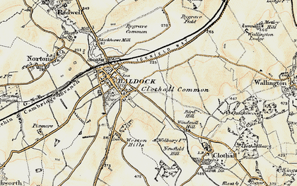 Old map of Clothall Common in 1898-1899