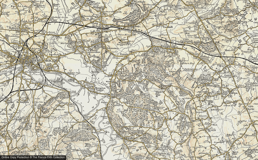 Old Map of Historic Map covering Backbury Hill in 1899-1901