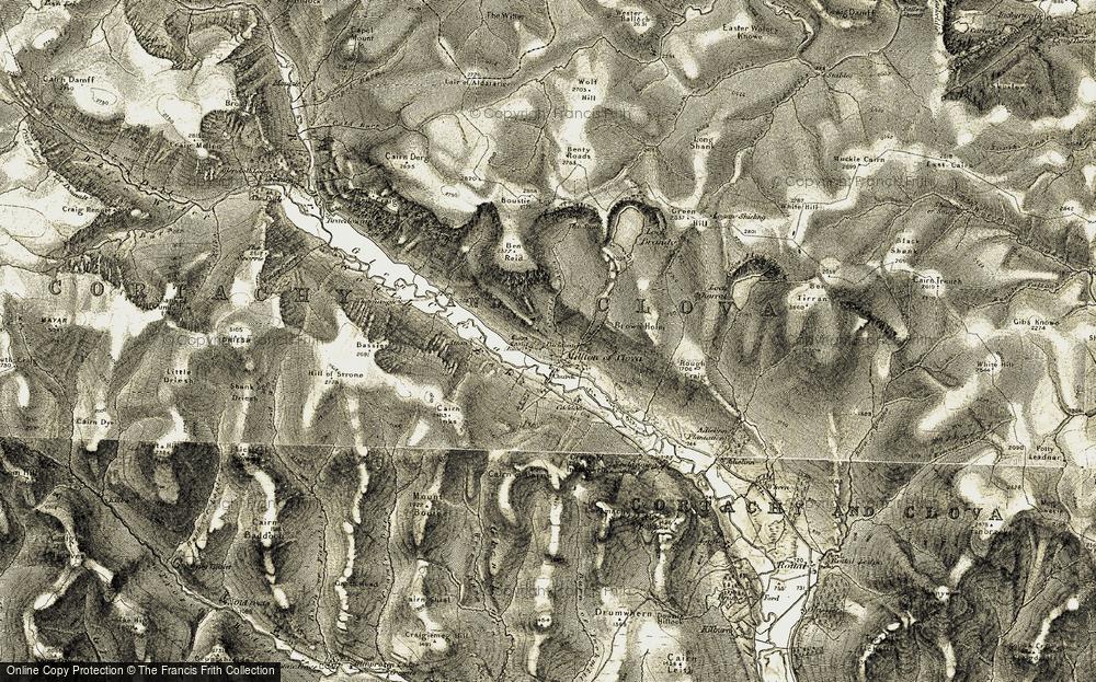 Old Map of Historic Map covering Glen Clova in 1908