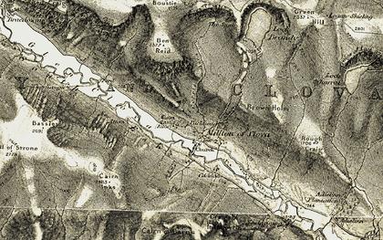 Old map of Glen Clova in 1908