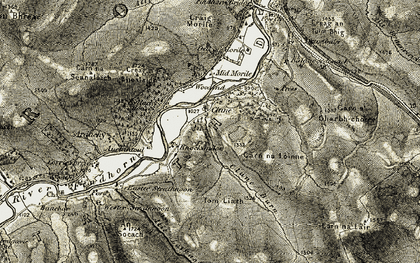 Old map of Allt Lathach in 1908-1912