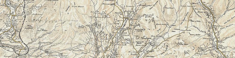 Old map of Aber-llia in 1900
