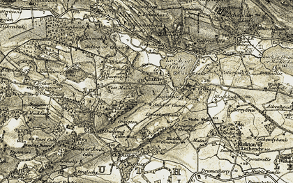 Old map of Clunie in 1907-1908