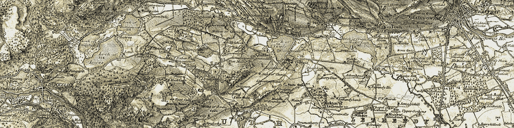 Old map of Wester Logie in 1907-1908