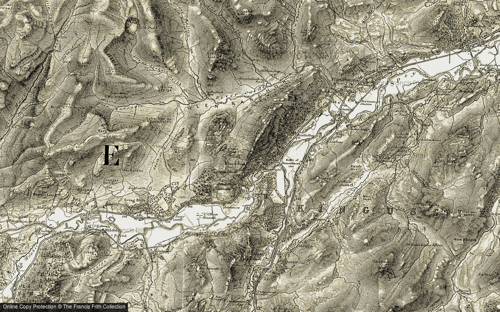 Old Map of Historic Map covering Woods of Glentruim in 1908