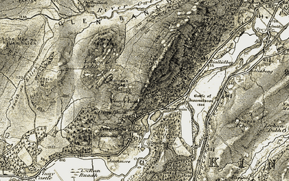 Old map of Woods of Glentruim in 1908
