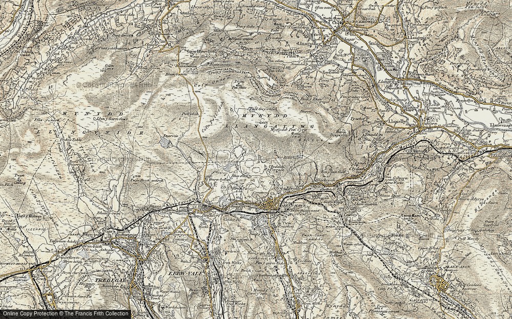 Old Map of Historic Map covering Agen Allwedd in 1899-1900