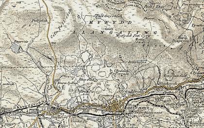 Old map of Agen Allwedd in 1899-1900