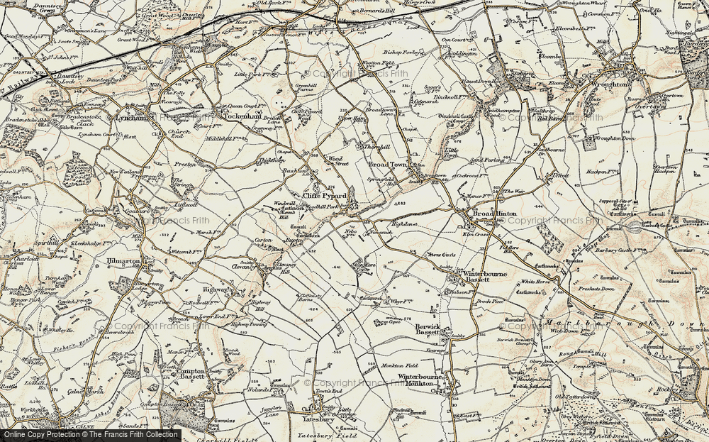 Old Map of Historic Map covering Woodhill Park in 1898-1899