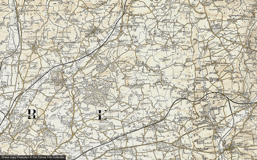 Old Map of Historic Map covering Woodhayes in 1898-1900