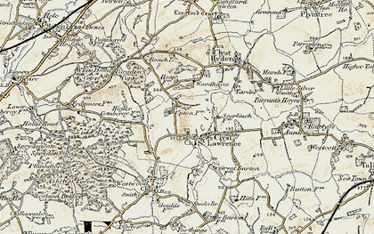 Old map of Woodhayes in 1898-1900