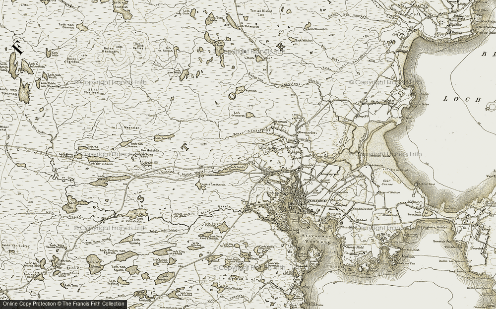 Old Map of Historic Map covering Abhainn Lacasdail in 1909-1911