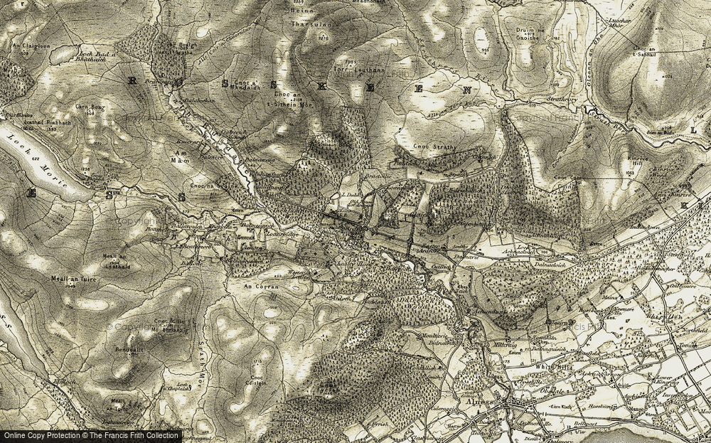 Old Map of Historic Map covering Aultanfearn in 1911-1912