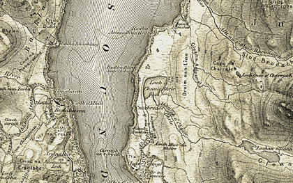 Old map of Allt an t-Sluic Bhrodaich in 1905-1907