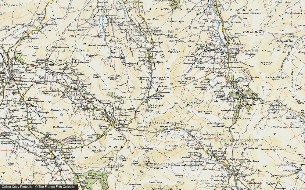 Old Map of Historic Map covering Allendale Common in 1901-1904