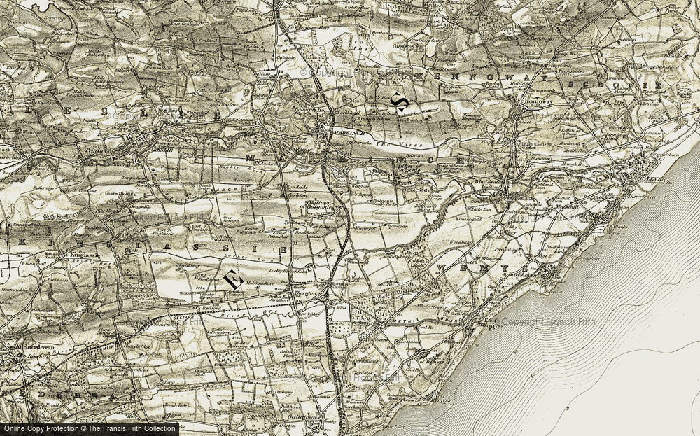 Old Map of Historic Map covering Balgonie Cott in 1903-1908