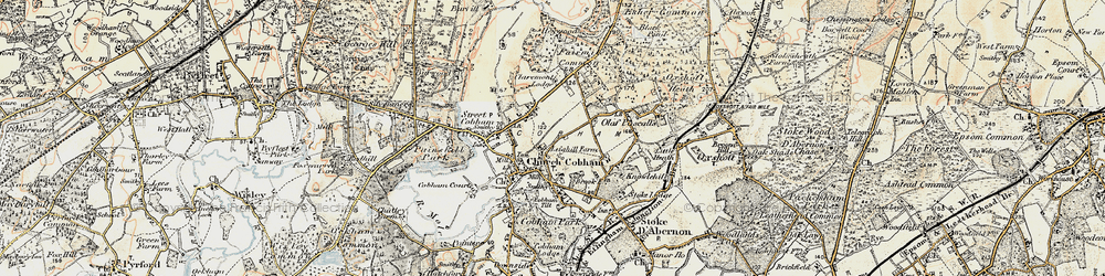 Old map of Cobham in 1897-1909