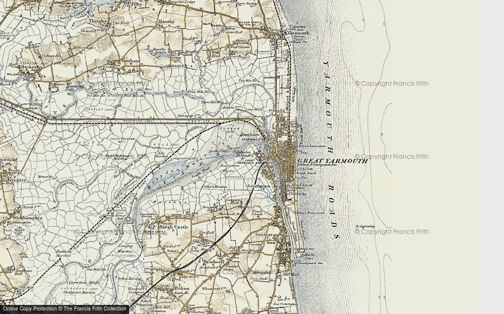 Old Map of Historic Map covering Acle Marshes in 1901-1902