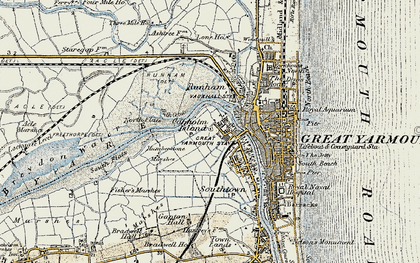 Old map of Acle Marshes in 1901-1902