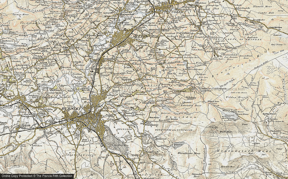 Old Map of Historic Map covering Thursden in 1903-1904