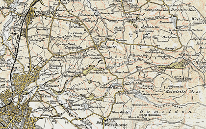Old map of Thursden Brook in 1903-1904
