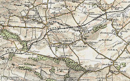 Old map of Cockfield in 1903-1904