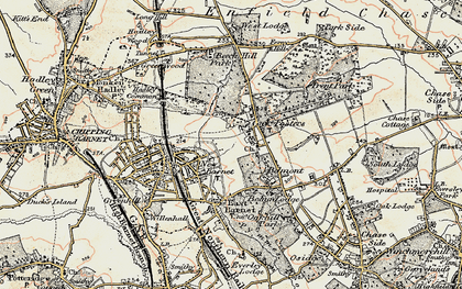Old map of Cockfosters in 1897-1898