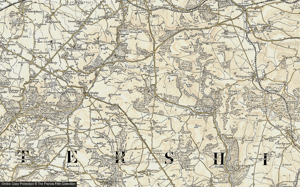 Old Map of Historic Map covering Tomtit's Bottom in 1898-1900