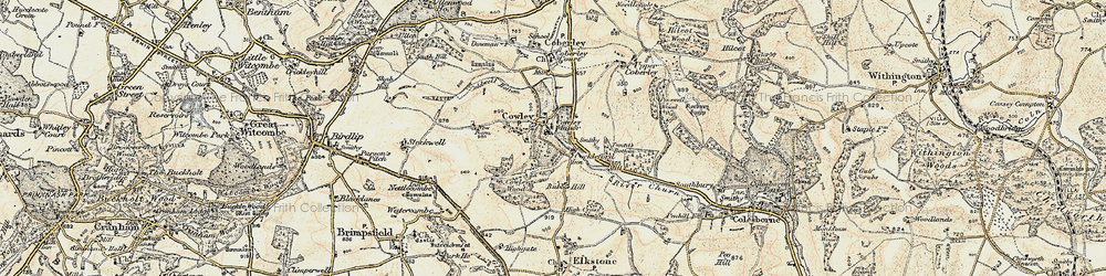 Old map of Tomtit's Bottom in 1898-1900