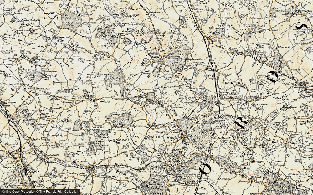 Old Map of Codicote, 1898-1899 in 1898-1899