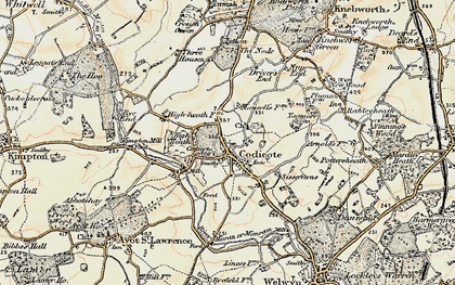 Old map of Codicote in 1898-1899