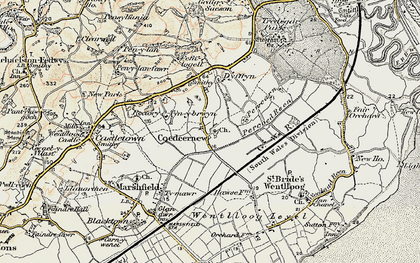 Old map of Coedkernew in 1899-1900