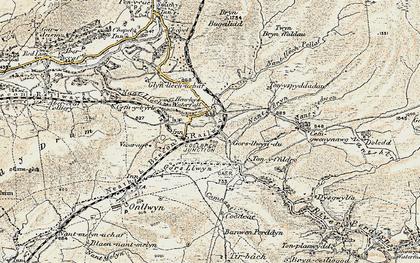 Old map of Tonspyddaden in 1900-1901