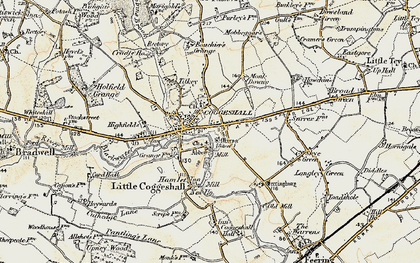 Old map of Coggeshall in 1898-1899