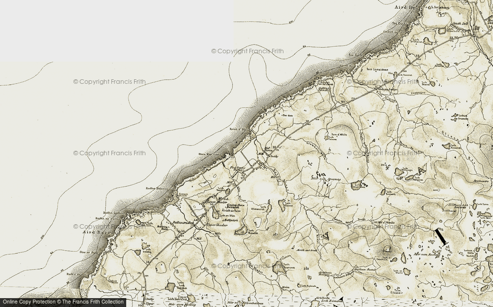 Old Map of Historic Map covering Allt Fisgro in 1911
