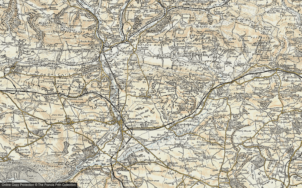 Old Map of Coity, 1899-1900 in 1899-1900