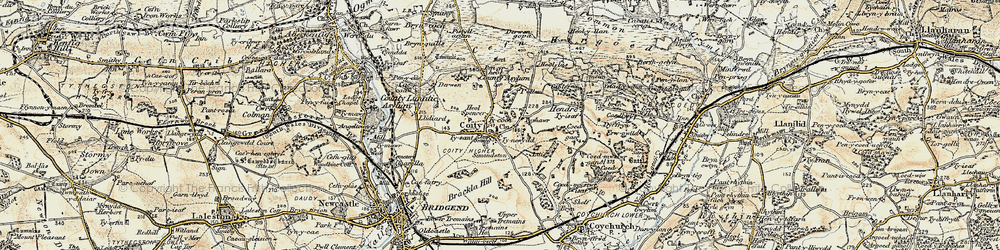 Old map of Coity in 1899-1900