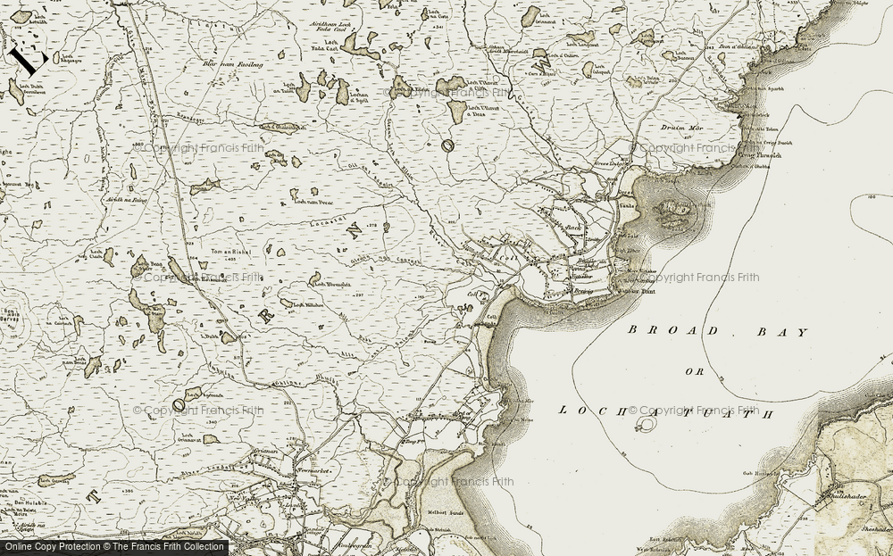 Old Map of Historic Map covering Allt an t-Sniomh in 1909-1911