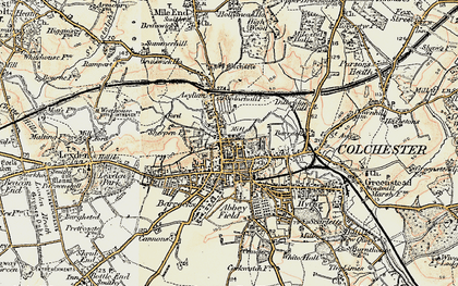 Old map of Colchester in 1898-1899