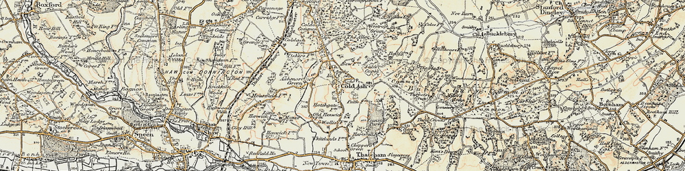 Old map of Cold Ash in 1897-1900