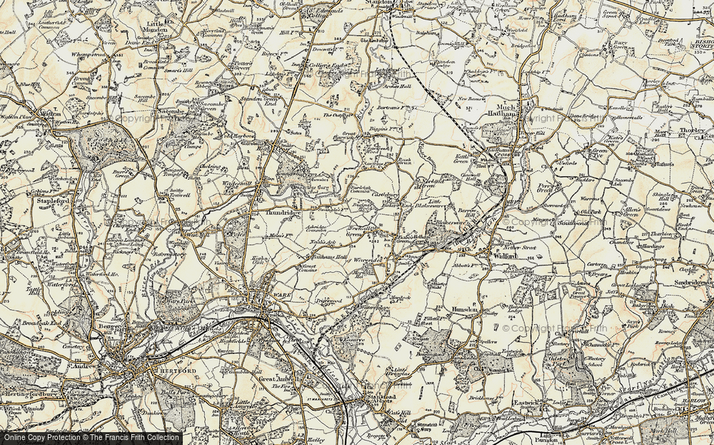 Old Map of Historic Map covering Ashridge Common in 1898-1899
