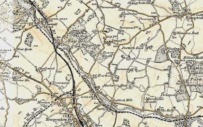 Old map of Cold Harbour in 1898-1899