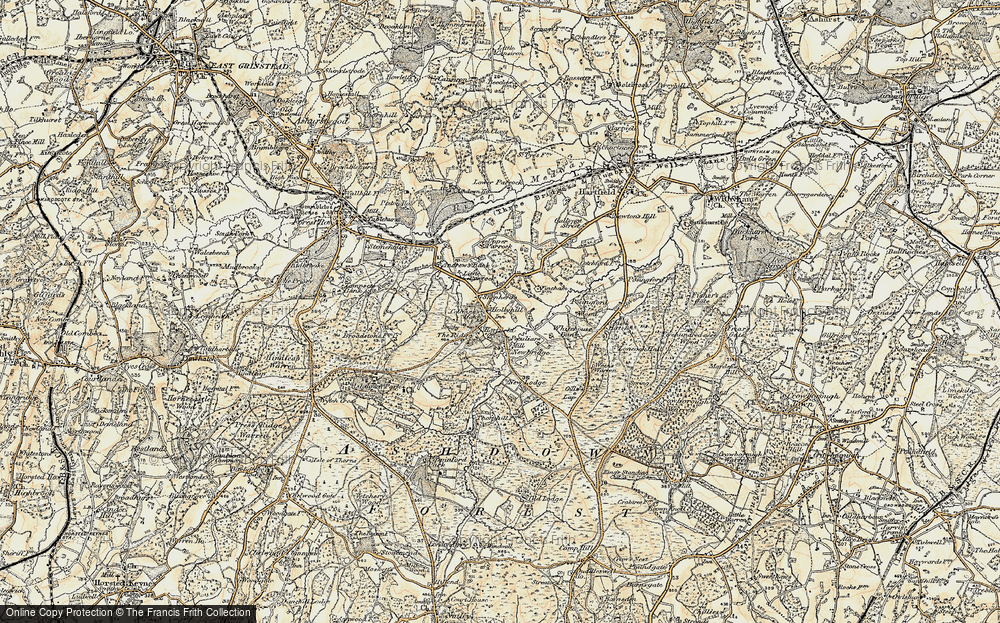 Old Map of Coleman's Hatch, 1898 in 1898
