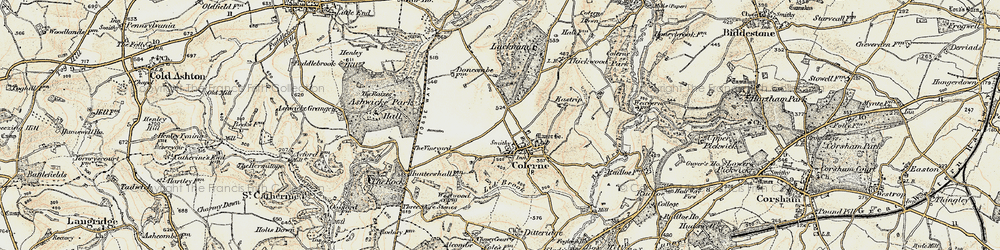 Old map of Colerne in 1899