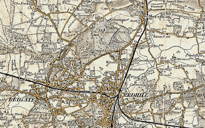 Old map of Coles Meads in 1898-1909