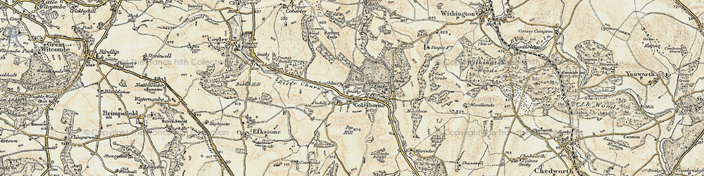 Old map of Colesbourne in 1898-1899