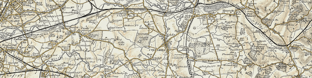 Old map of Coleshill in 1901-1902
