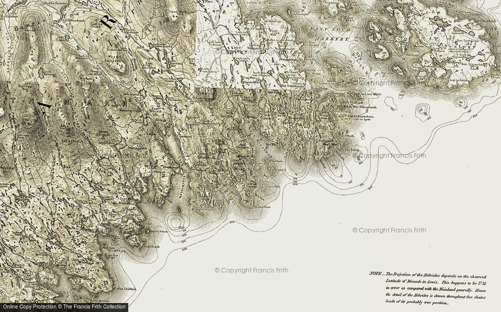 Old Map of Historic Map covering Àird Chollaim in 1908-1911