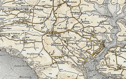 Old map of Collaton in 1899
