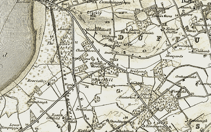 Old map of Bank of Roseisle in 1910-1911